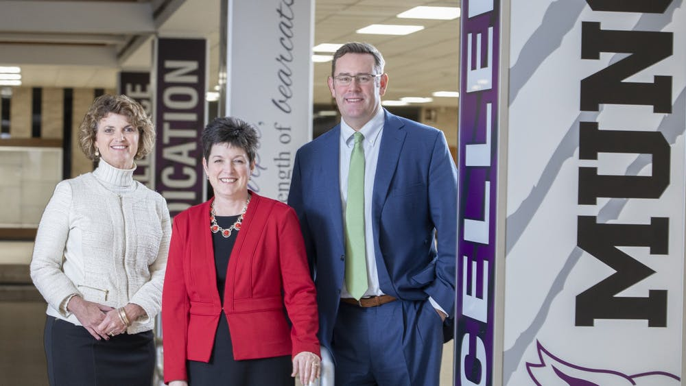 (From left to right) Lee Ann Kwiatkowski, director of public education and CEO of Muncie Community Schools, Kelly Shrock, president of The Community Foundation of Muncie & Delaware County, and Jud Fisher, president & COO of Ball Brothers Foundation, pose for a photo. The foundation announced two endowments totaling $150,000 for the MCS director and CEO. Liz Gardner, Photo Provided