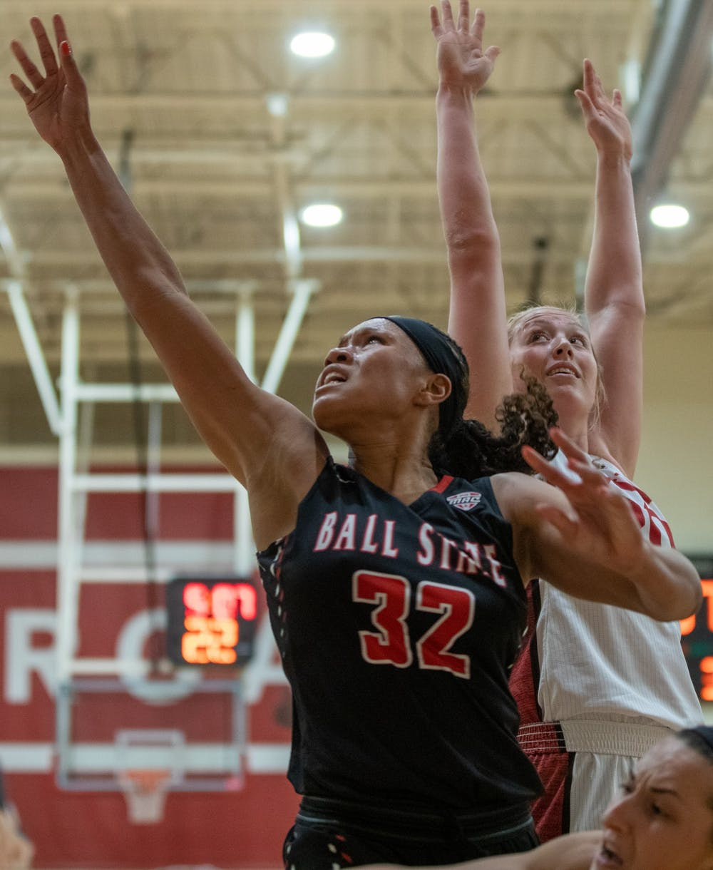 Junior Forward Oshlynn Brown jumps for a rebound Nov. 5, 2019, in the IUPUI Gymnasium in Indianapolis, Ind. IUPUI beat Ball State 65-48. Jacob Musselman, DN