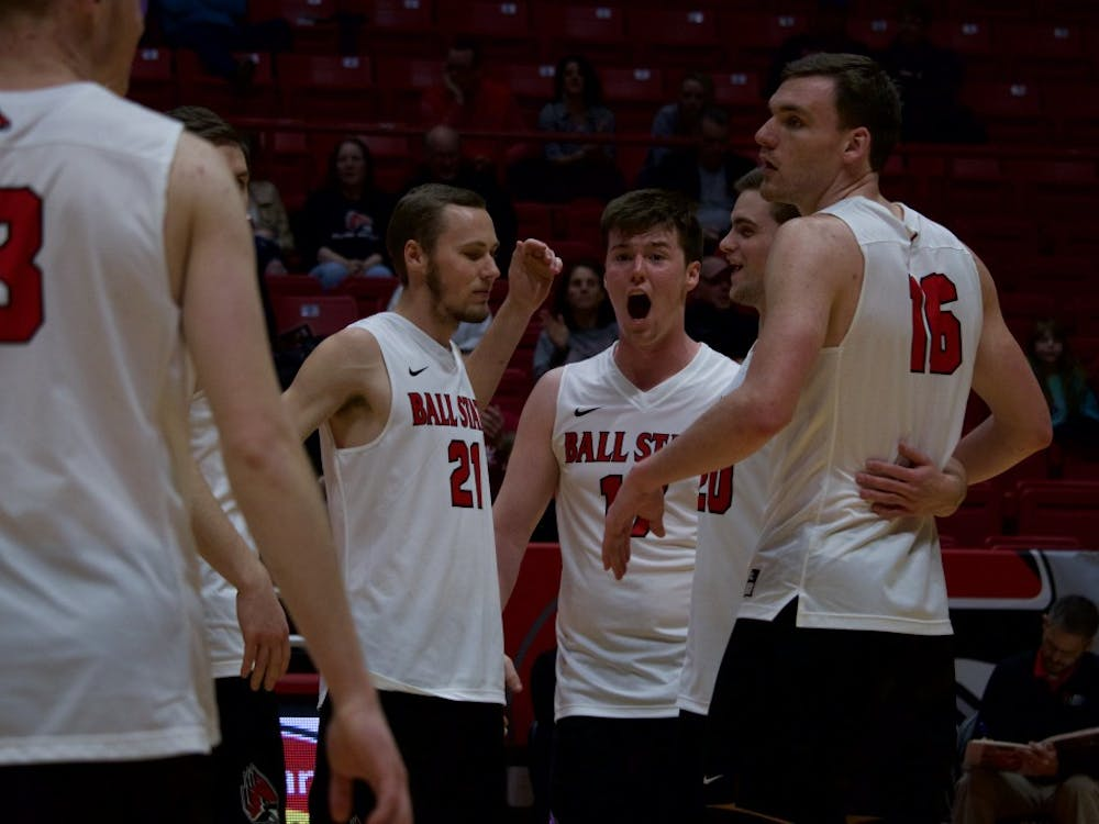 Freshman Ryan Dorgan cheers as Ball State Cardinals win consecutive points in the end of the third game at John E. Worthen Arena on March 31 against Quincy Hawks. The Ball State Cardinals won all 3 games played. Rebecca Slezak, DN