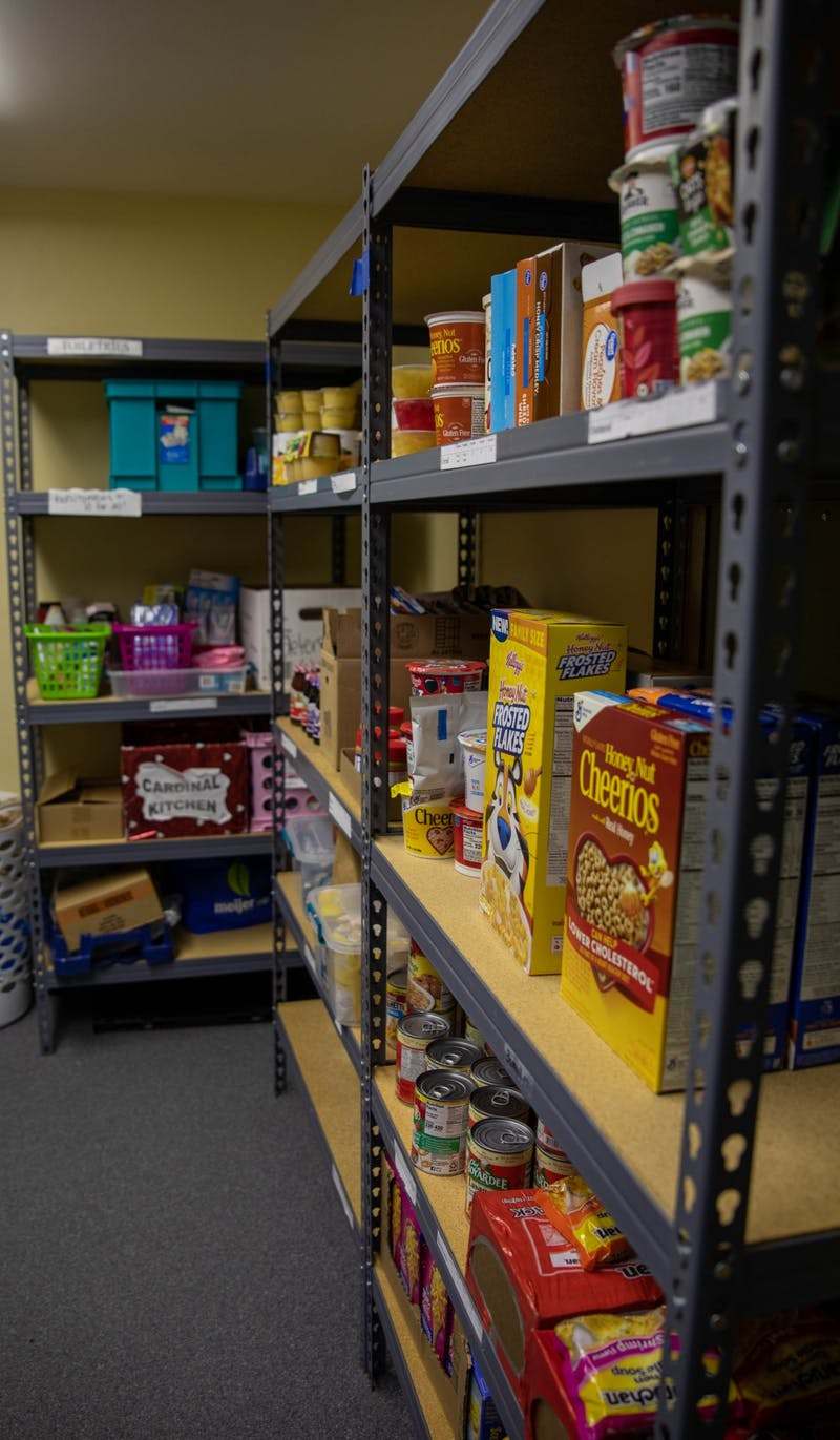 Food sits in part of the Cardinal Kitchen pantry Nov. 24, 2020, in the Multicultural Center. The kitchen has hosted two food drives during the fall 2020 semester. Jaden Whiteman, DN