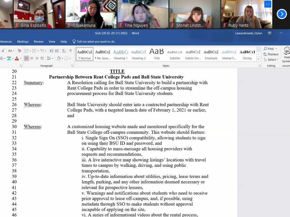 The SGA Senate looks over the proposed partnership between Ball State and Rent College Pads at the Dec. 9 Zoom meeting. The partnership resolution passed 28-3, with seven abstentions. Maya Wilkins, Screenshot Capture