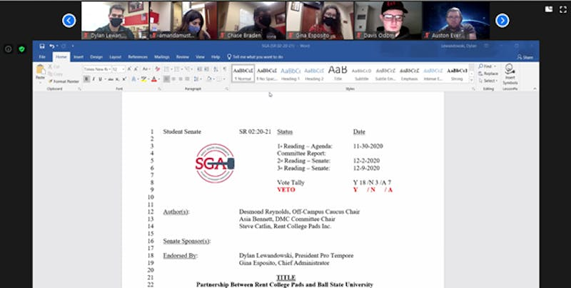 SGA President Connor Sanburn presents his veto on the proposal of a partnership between Rent College Pads and Ball State at the Jan. 27 Zoom meeting. The senators approved the veto 32-1, with two abstentions. Maya Wilkins, Screenshot Capture