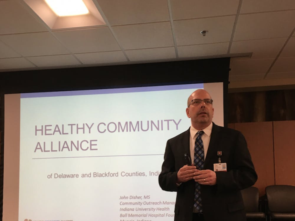 Ball State is one of 37 stakeholders in the Healthy Community Alliance of Delaware and Blackford counties. John Disher, community outreach manager for IU Health Ball Memorial Hospital, plans for the impact model to align with existing initiatives and a catalyst. DN PHOTO MICHELLE KAUFMAN