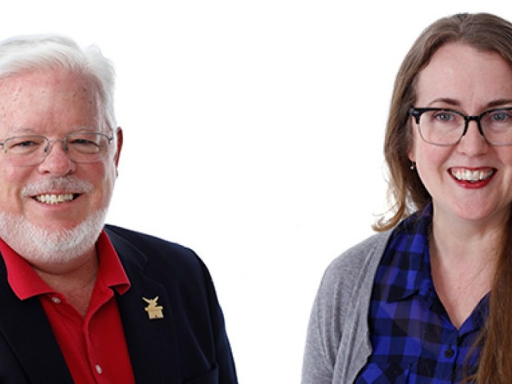 """Michael O'hara, associate dean of the college of fine arts, and Colleen Steffen, lecturer of journalism, both have experience in the process of creating textbooks. O'hara's textbook """"Explore Theatre"""" was published in 2012 and Steffen's textbook is set to publish by Sept. 1. Ball State, Photo Courtesy"""