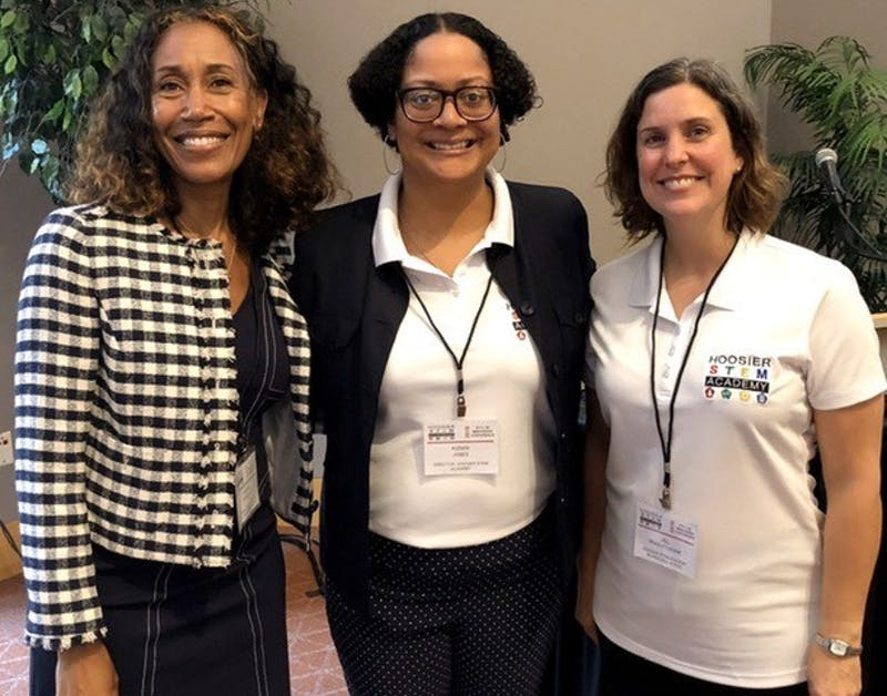 Tamara Markey, Indiana teacher of the year 2019, Kizmin Jones, director of Hoosier STEM Academy, and Jill Bradley-Levine, associate professor of educational studies, pose for a photo at the Hoosier STEM Conference June 17, 2019. The academy was awarded $602,000 by the Indiana Commission for Higher Education. Kizmin Jones, Photo Provided