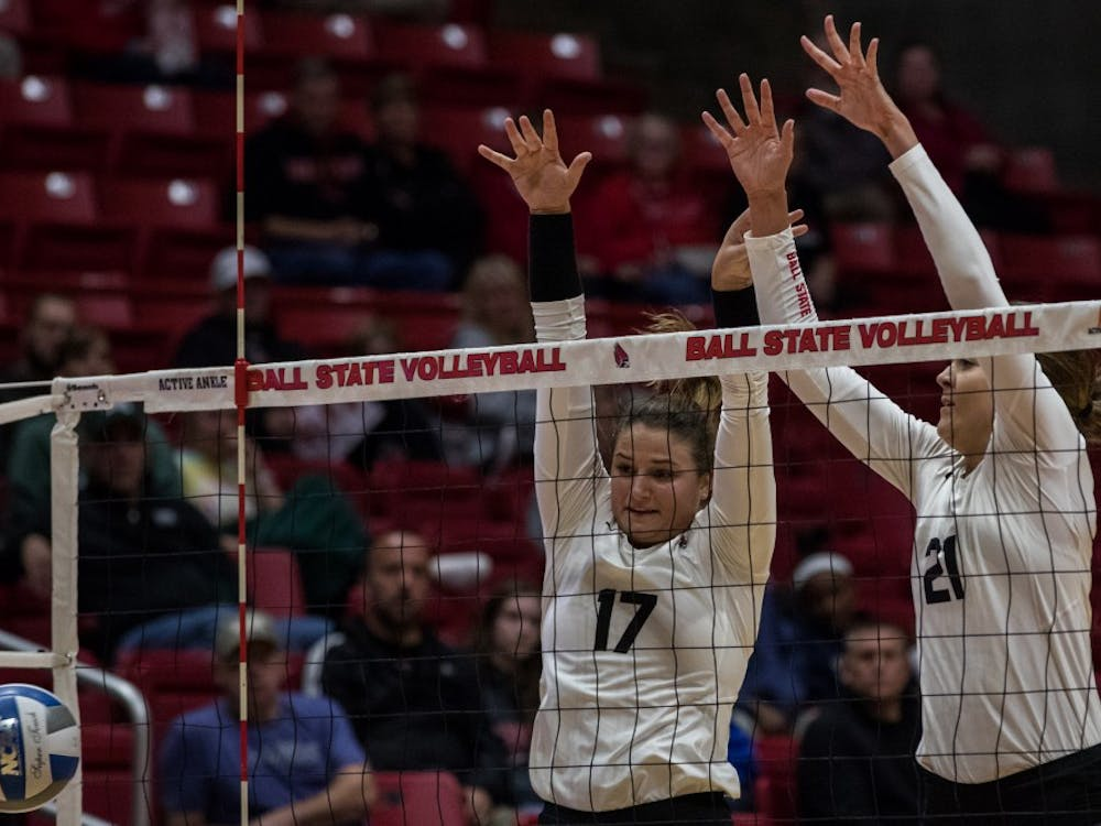 Ball State's women's volleyball started off strong against Ohio University and looked to close out the night early after winning the first two sets of the game Friday, Oct. 12, 2018, in John E. Worthen Arena.  However, the Bobcats showed up to work in the third set, and caught those in attendance off guard by coming back and sending the game into a fourth set. From there, the Cardinals kicked it up a notch and closed out the game in the fourth set ending the game 3-1 putting Ball State's record at 15-5 for the season.