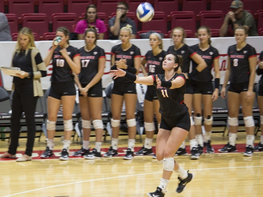 Sophomore setter Amber Seaman prepares to hit the ball during the second set against Bradley University on Sept. 1 at John E. Worthen Arena. Seaman had two kills and five digs during this set. Briana Hale, DN