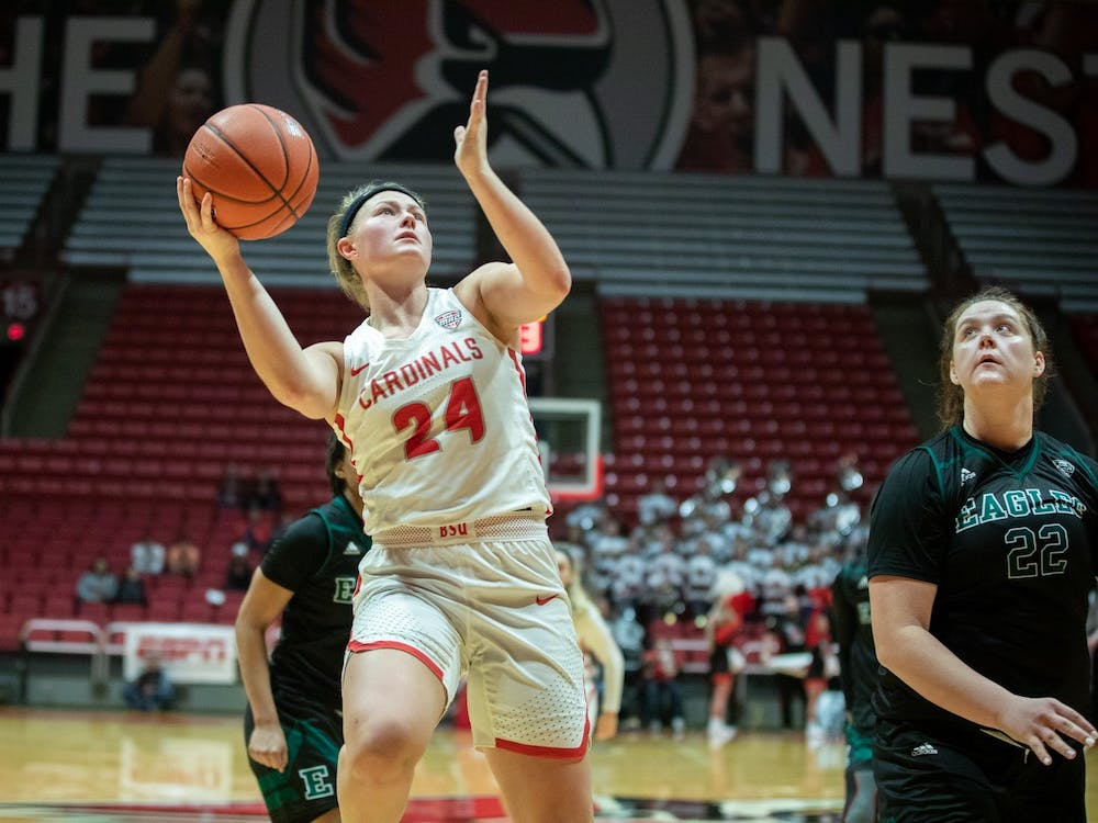 Graduate guard Jasmin Samz goes up to the rim against Eastern Michigan Jan. 11, 2020, at John E. Worthen Arena. Ball State beat Eastern Michigan 59-54. Jacob Musselman, DN