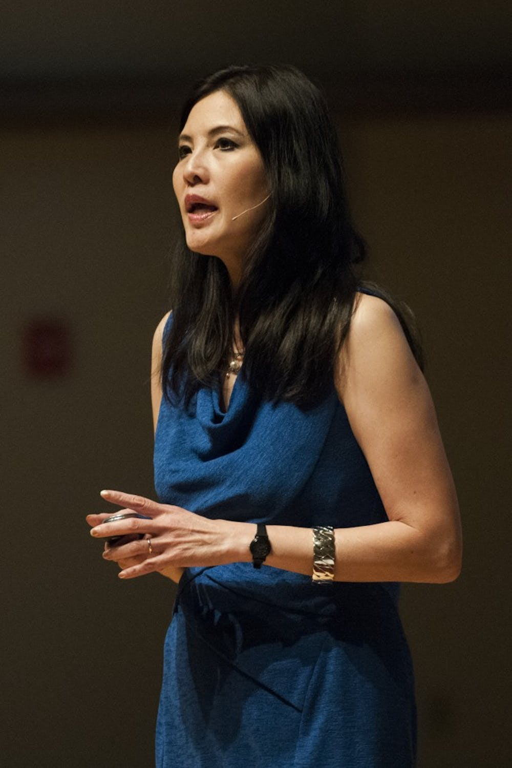 Sheryl WuDunn encouraged volunteerism and community activism at her talk on Monday at Pruis Hall. WuDann is the author of