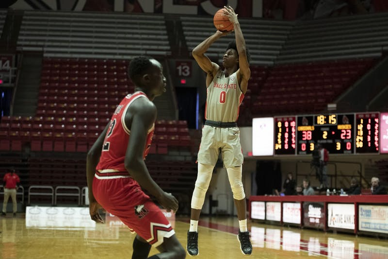 Ball State Cardinals redshirt junior forward Miryne Thomas shoots a three pointer against the Northern Illinois Huskies Jan. 16, 2020, at John E. Worthen Arena. The Cardinals beat the Huskies 78-58. Jacob Musselman, DN