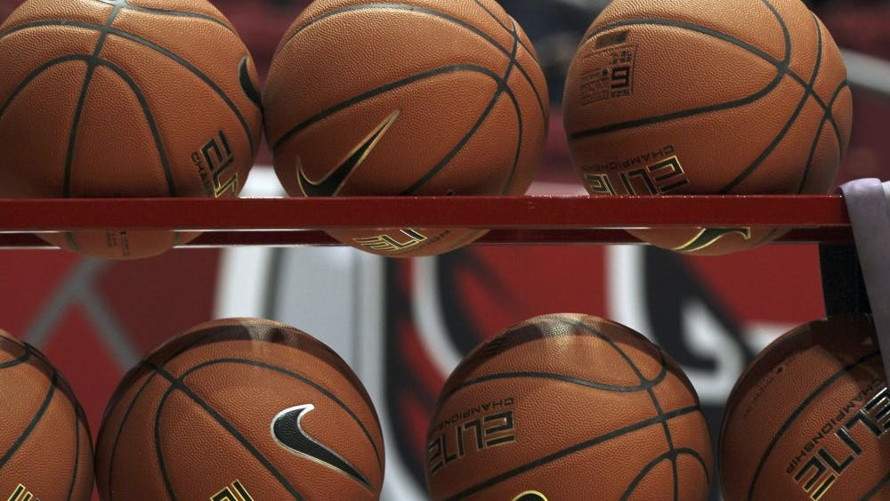 Basketballs sit in a rack while Ball State warms up before the second half of the Cardinals' game against Cleveland State University Nov. 11, 2018 in John E. Worthen Arena. Ball State won 67 to 62. Paige Grider, DN