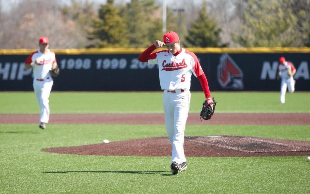 <p>Then-freshman Drey Jameson walks off the field after striking his last batter out in the third inning during the game against Dayton March 18, 2018. <strong>Carlee Ellison, DN</strong></p>