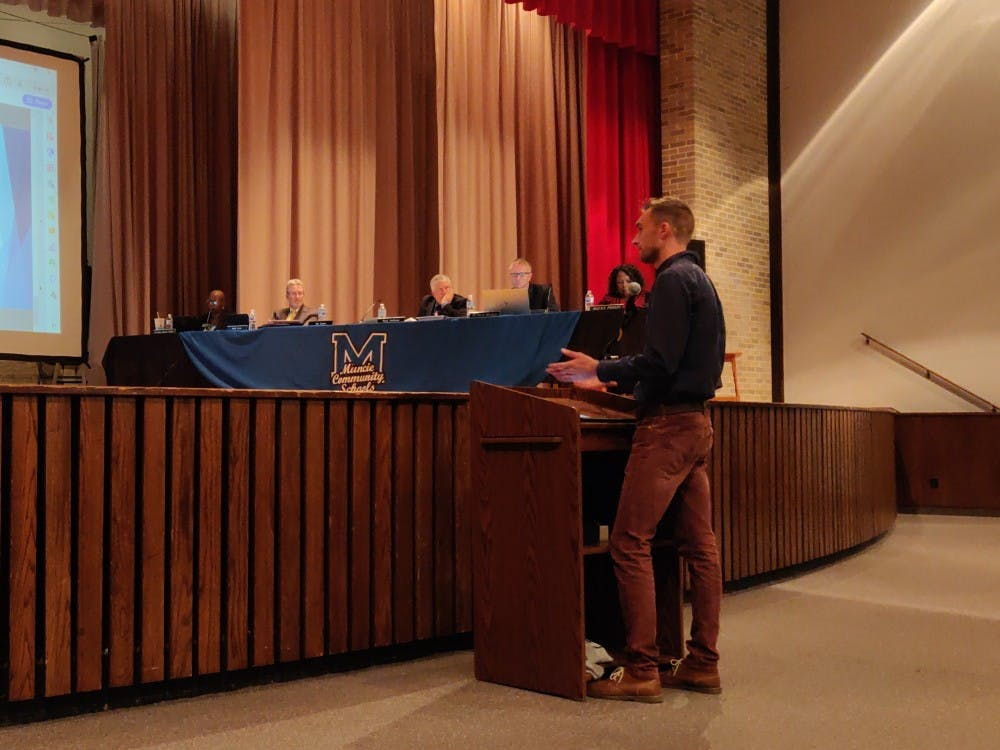 <p>Northside Middle School teacher Kurtis Rumple speaks to the Muncie Community Schools board Sept. 25, 2019, at the school's auditorium. Rumple teaches a Project Lead the Way class at Northside. <strong>Rohith Rao, DN</strong></p>