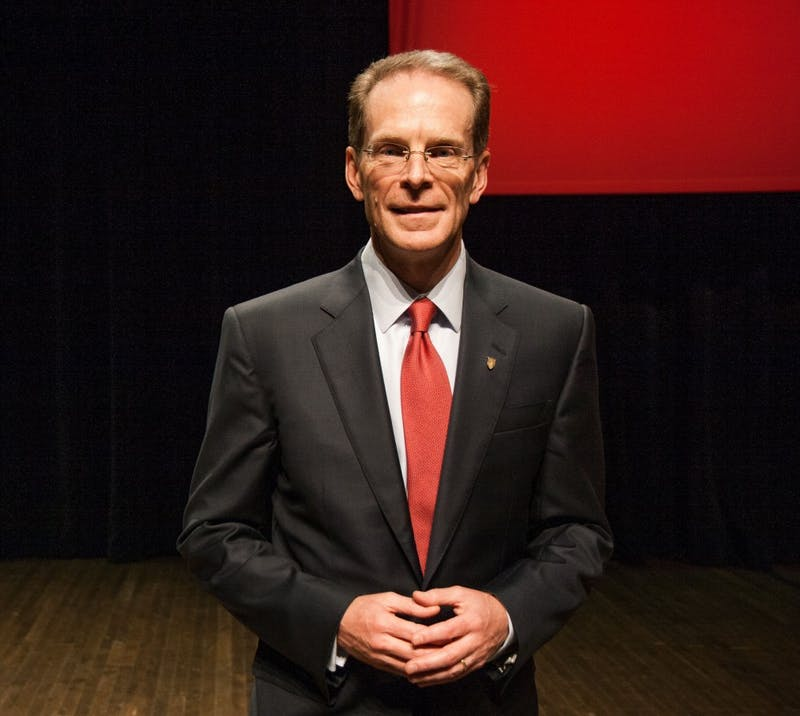 Ball State President Geoffrey Mearns smiles after his installation on Sept. 8 at the Installation of Geoffrey S. Mearns in John R. Emens Auditorium. Mearns is the 17th President of Ball State University. Kaiti Sullivan, DN File