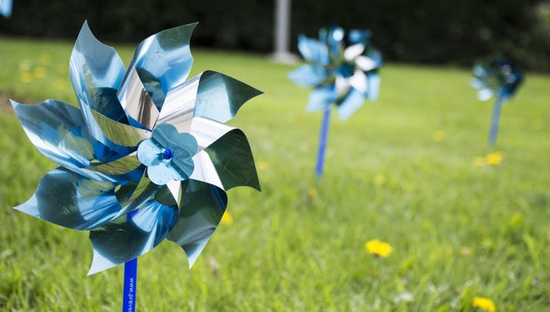 Up to 10,000 blue pinwheels have been placed around Delaware County to help promote National Child Abuse Prevention Month throughout April. In addition to the pinwheels, PCA has billboards, information booklets and events to help start a dialog in the community. Kaiti Sullivan // DN