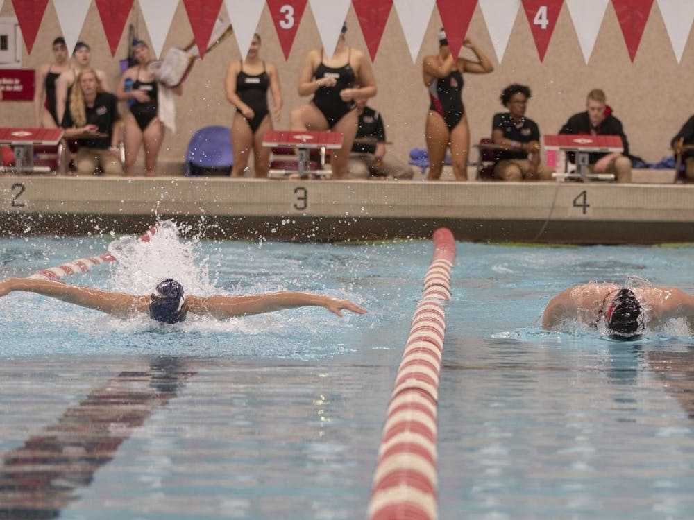 Ball State and Akron swimmers race in the 400 yard Individual Medley at the womens swim meet Saturday Nov. 3rd, at Lewellen Aquatic Center. The Akron Womens Swim Team is ranked 1st in the MAC confrence. Jacob Haberstroh,DN.