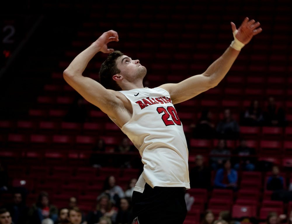 <p>Senior David Siebum serves the ball over the net Jan. 18, 2019 at John E. Worthen Arena. Ball State lost to Santa Barbara 2-3. <strong>Rebecca Slezak, DN</strong></p>