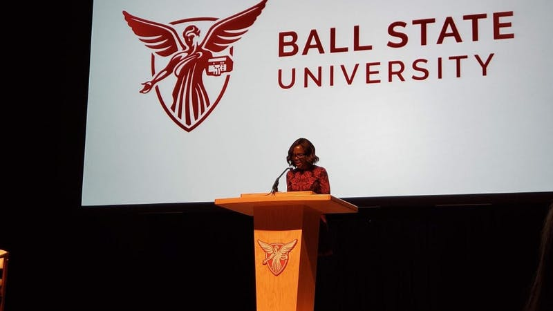 """Good Morning America"" anchor Deborah Roberts gives her speech Monday, Feb. 19 in Emens Auditorium. Roberts is the first Ball State Centennial Celebration speaker for the spring semester. John Lynch, DN"