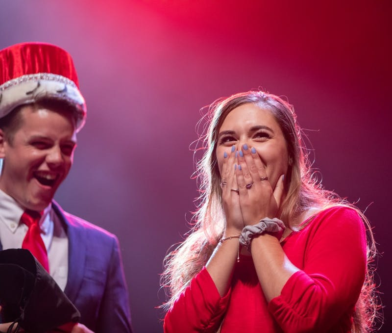 Junior exercise science major Elizabeth Latham reacts after being named Homecoming Queen Oct. 15, 2019 at Emens Auditorium. Latham was nominated by Student Government Association. Jacob Musselman, DN