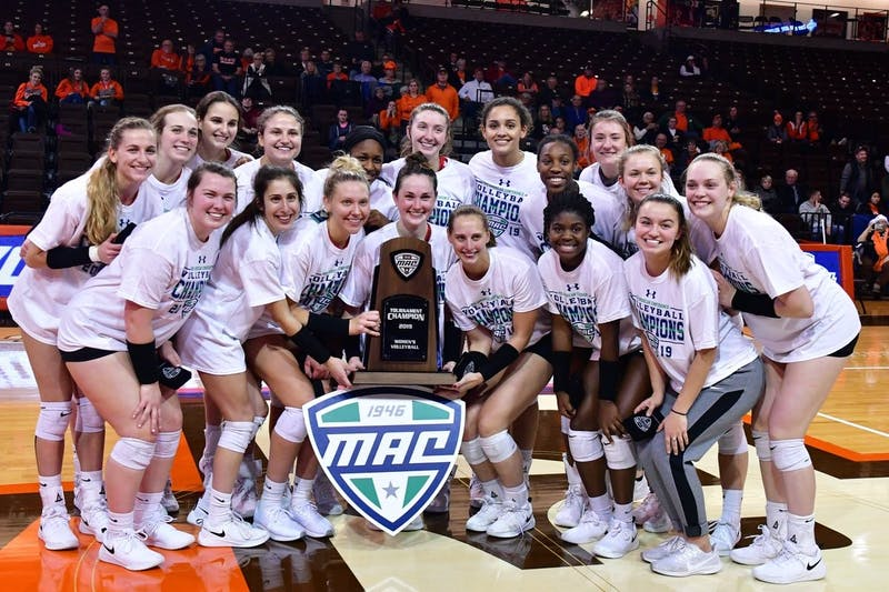 Ball State Women's Volleyball clinched its first Mid-American Conference title in 17 years over Bowling Green, 3-2, Saturday in Bowling Green. The Cardinals find out their NCAA Tournament opponent Dec. 1. Photo Courtesy of Ball State Athletics