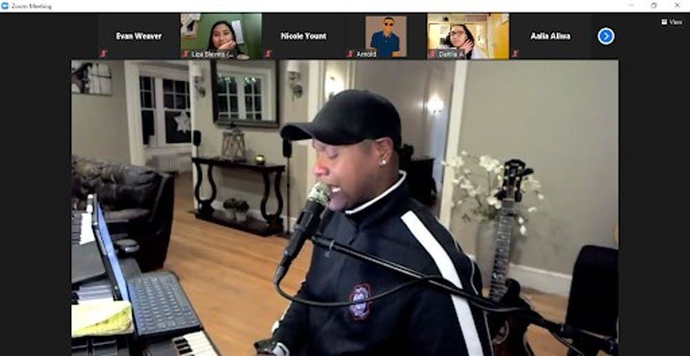 <p>Javier Colon, the first winner of NBC's &quot;The Voice,&quot; performs audience-requested songs at University Program Board&#x27;s &quot;House of Melanin&quot; event Feb. 24, 2021. Colon was one of three performers at the event. <strong>Evan Weaver, Screenshot Capture</strong></p>