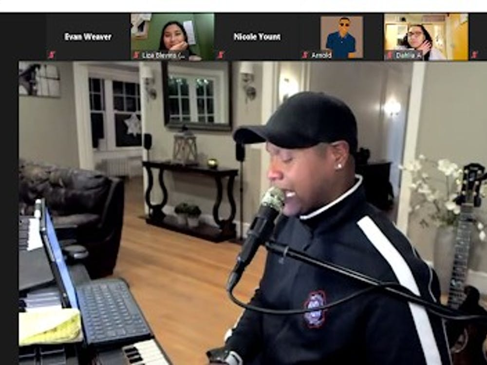 """Javier Colon, the first winner of NBC's """"The Voice,"""" performs audience-requested songs at University Program Board's """"House of Melanin"""" event Feb. 24, 2021. Colon was one of three performers at the event. Evan Weaver, Screenshot Capture"""