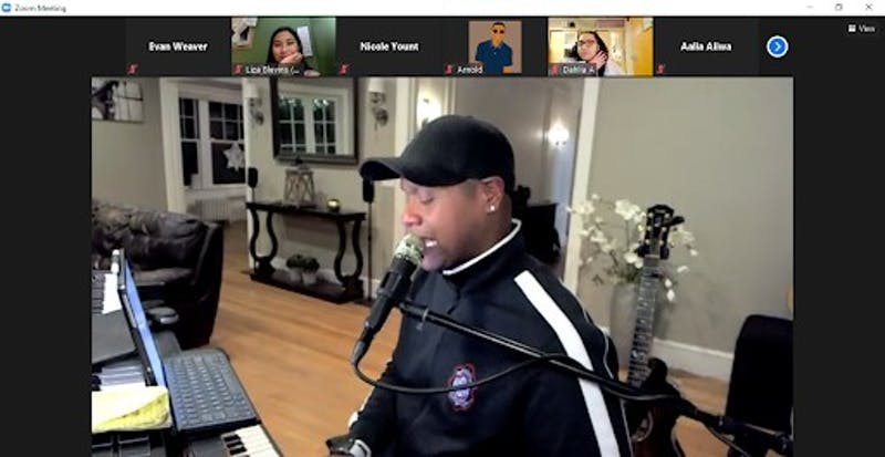 "Javier Colon, the first winner of NBC's ""The Voice,"" performs audience-requested songs at University Program Board's ""House of Melanin"" event Feb. 24, 2021. Colon was one of three performers at the event. Evan Weaver, Screenshot Capture"