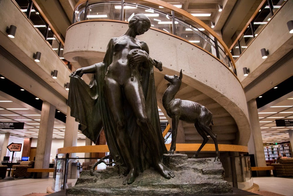 """Sculpted by Albin Polasek in 1930, Forest Idyl, or more commonly, """"The Naked Lady,"""" is a popular meeting spot for students in Bracken Library. Rachel Ellis, DN"""