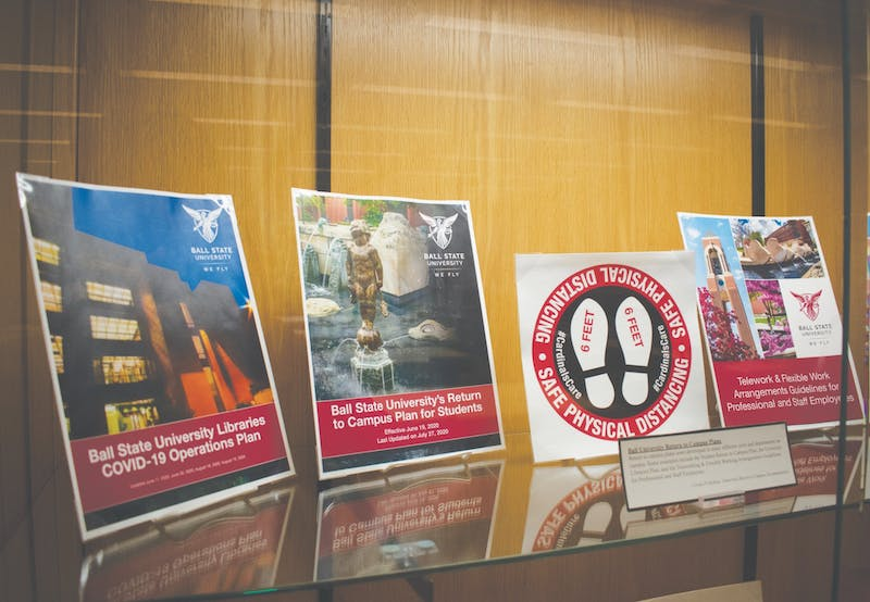 """A display of Ball State COVID-19 response materials Oct. 13 in Bracken Library. The display is part of the """"Document Your Story: COVID-19 Pandemic Project Archive."""" Joey Sills, DN"""