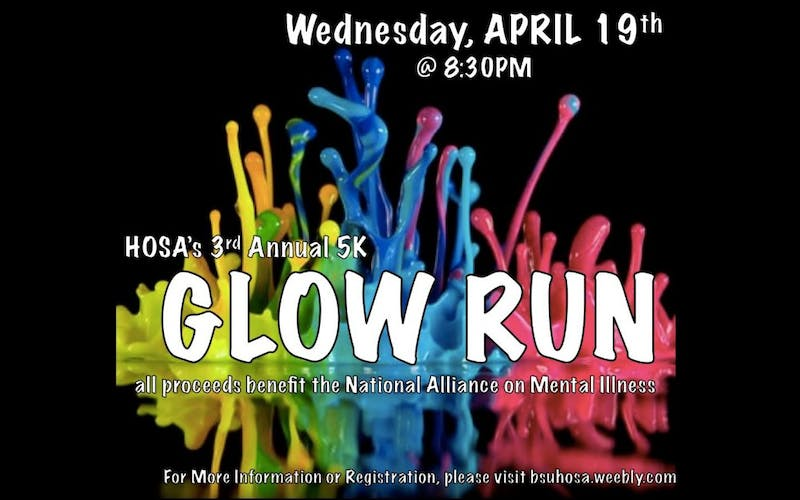 Ball State HOSA is holding their third annual 5k Glow Run on April 19 to raise money for the National Alliance on Mental Illness. Pre-registration prices are $25 for a single participant, $88 for a group of four, and $160 for a group of eight. Participants signing up on the day of will have to pay $35. Glow Run Facebook// Photo Courtesy