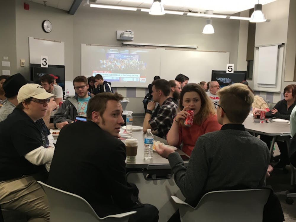 The Political Science Department hosted a viewing party on March 1 to watch the results from the 11 primaries for the presidential elections. DN PHOTO MICHELLE KAUFMAN