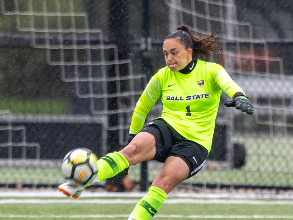 Senior goalkeeper Maitane Bravo kicks the ball April 11, 2021, at Briner Sports Complex. The Cardinals beat the Eagles 2-1 to become the Mid-American Conference West Division champions. Jaden Whiteman, DN