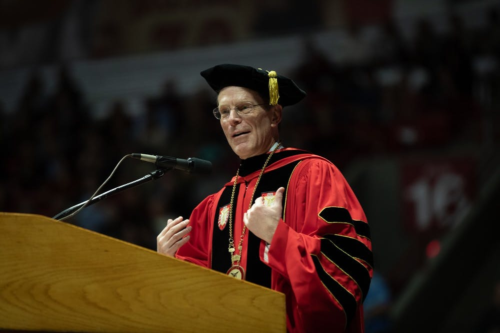 <p>Ball State President Geoffrey Mearns speaks to the new graduates Dec. 14, 2019, at the John E. Worthen Arena. &nbsp;Mearns announced in an email that Ball State will not hold spring and summer commencement exercises on July 18, 2020. <strong>Charles Melton, DN</strong></p>