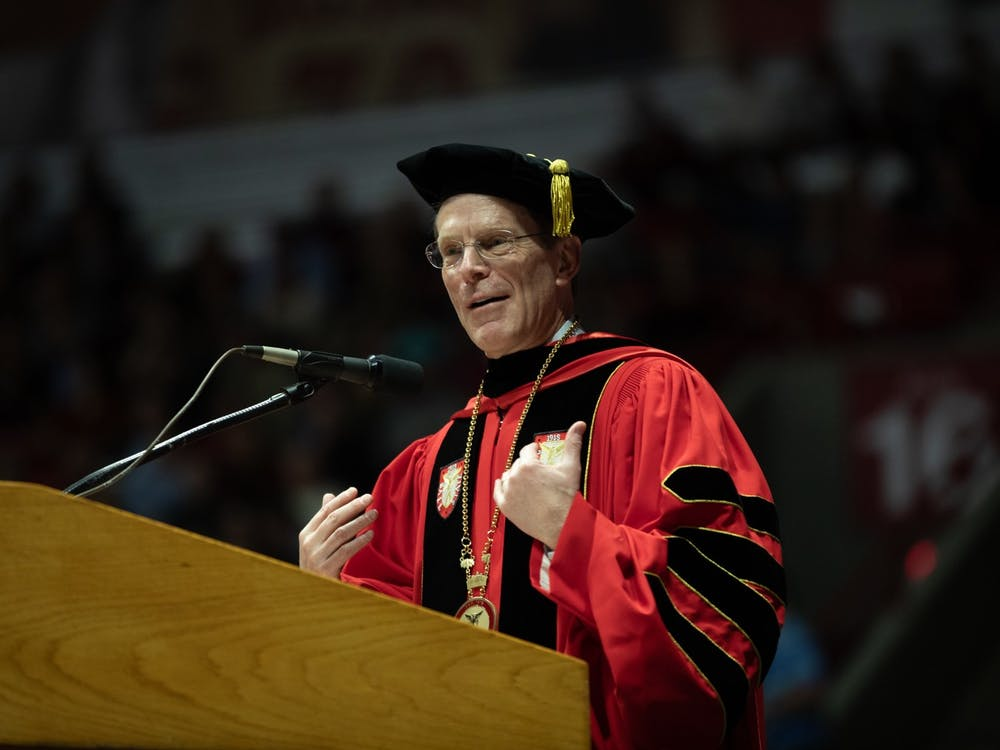 Ball State President Geoffrey Mearns speaks to the new graduates Dec. 14, 2019, at the John E. Worthen Arena.  Mearns announced in an email that Ball State will not hold spring and summer commencement exercises on July 18, 2020. Charles Melton, DN