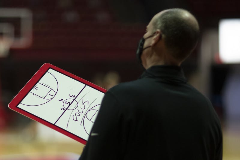 Ball State Cardinals head coach Brady Sallee holds his clipboard and watches the Bowling Green Falcons be introduced Jan. 2, 2020, at John E. Worthen Arena. The Cardinals lost to the Falcons 89-55. Jacob Musselman, DN