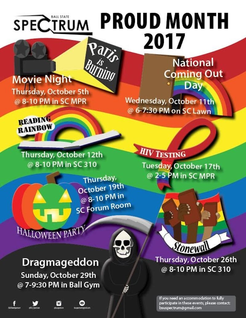 Throughout the month of October, Spectrum will host seven events. Six of the seven will be hosted in the Student Center. Spectrum Twitter, Photo Courtesy
