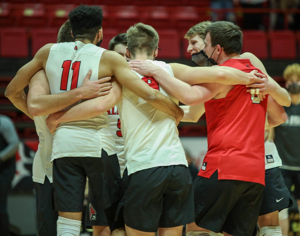 <p>The Ball State Men&#x27;s volleyball team celebrates after scoring a point Feb. 20, 2021, at John E. Worthen Arena. Ball State won against the Lions 3-0. <strong>Jaden Whiteman, DN</strong></p>