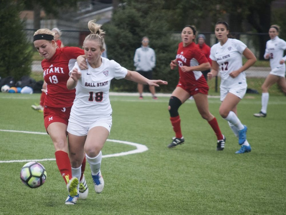 Sophomore midfielder/forward Emily Scott fights for the ball against Miami (OH). Ball State won 2-0 and clinched the MAC regular season championship.Colin Grylls // DN
