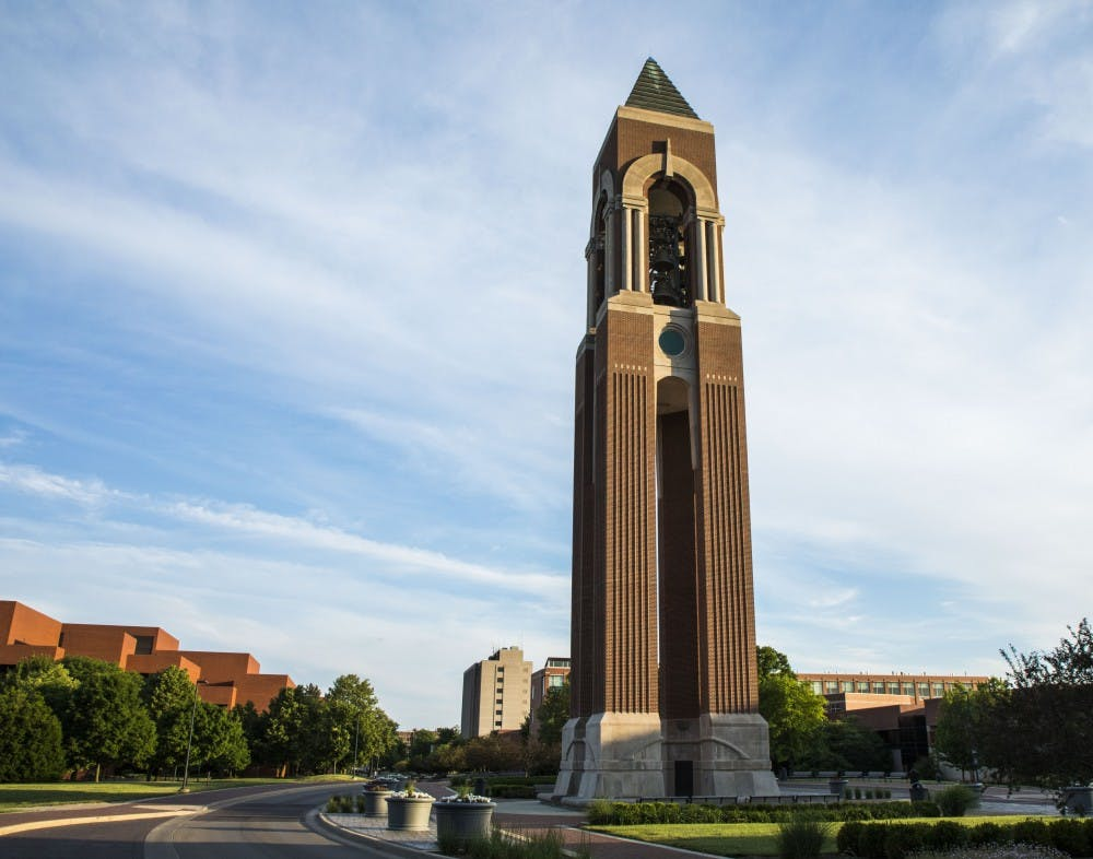 <p>Ball State President Geoffrey Mearns said the bells on Shafer Tower will toll eight times at 11:50 a.m. March 22, 2021, in memory of the eight people killed in Atlanta massage parlor shootings. <strong>Rachel Ellis, DN File</strong></p>