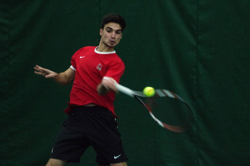 <p>Marko Guzina won in straight sets during the match against Eastern Illinois' Gage Kingsmith on Jan. 22 in Muncie's Northwest YMCA. Guzina won both sets 6-0 and 6-2. <strong>Grace Ramey, DN File</strong></p>