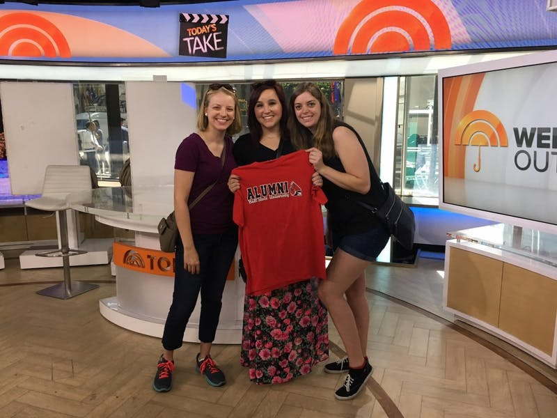 From left: Natalie Wagner, Andrea Abbott and Alex McIntire, Ball State alumnae, pose for a picture on the Today Show set. The former roommates try to get together once-a-year despite living in three different states. Photo provided // Natalie Wagner
