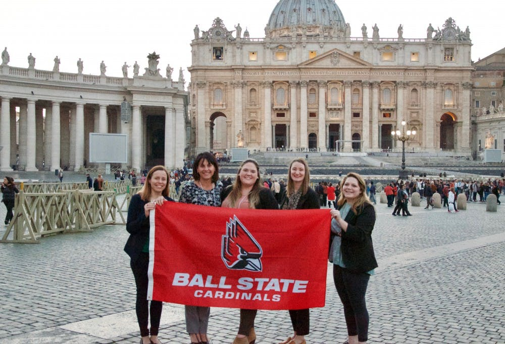"<p>Four graduate students in Ball State's Center for Emerging Media Design & Development master's program spent three days helping Circle of Blue produce ""WATERSHED: Replenishing Water Values for a Thirsty World,"" hosted by Pope Francis at the Vatican during World Water Week 2017.&nbsp;EMDD director Jennifer Palilonis said people around the world gathered for WATERSHED at St. Peter's Square March 22, to share the reality, struggles, hopes and fears about the world's water supply. Jennifer Palilonis&nbsp;// Photo Provided</p>"