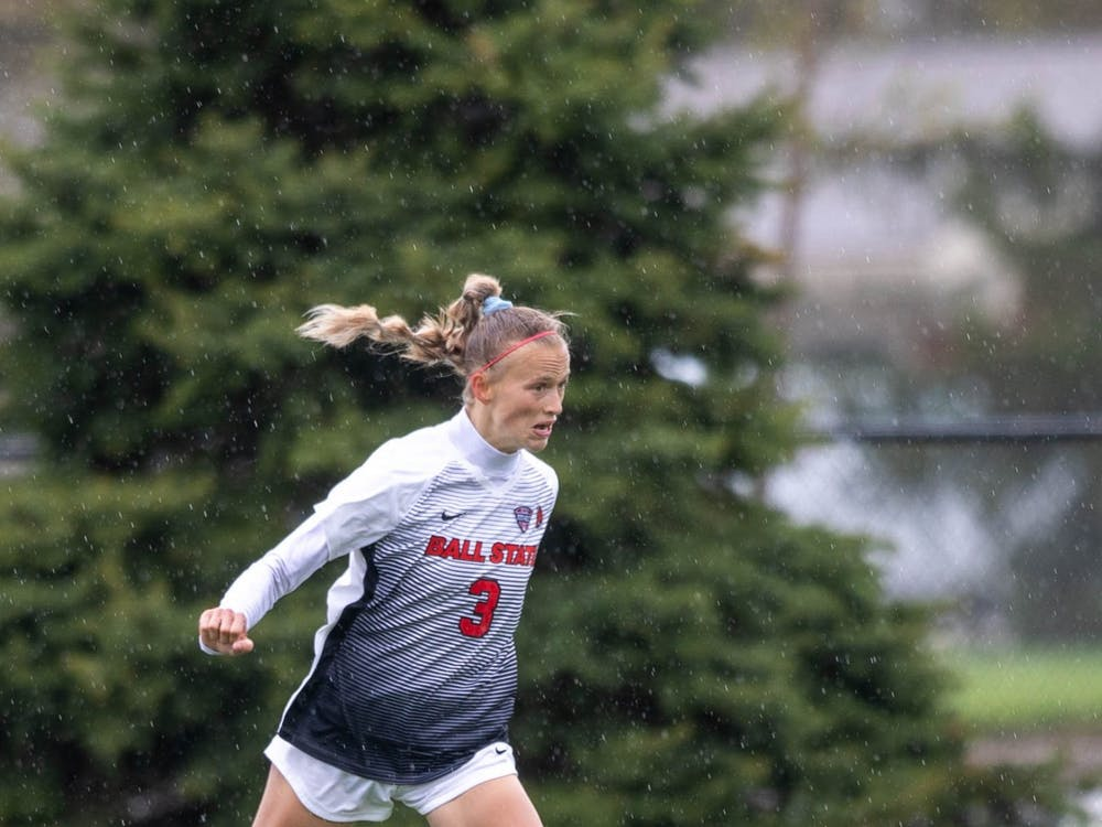 Junior defender Lexy Smith does a header April 11, 2021, at Briner Sports Complex. The Cardinals beat the Eagles 2-1 to become the Mid-American Conference West Division champions. Jaden Whiteman, DN