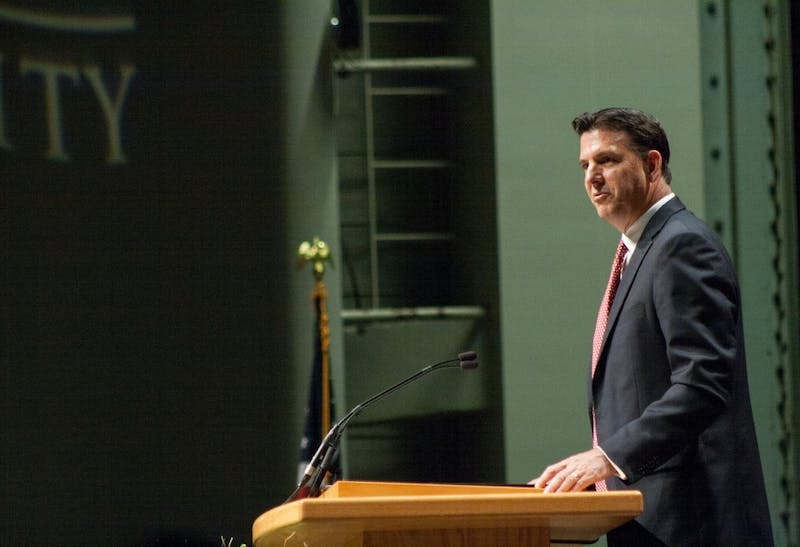 Chairman of the Board of Trustees Richard Hall welcomes the audience on Sept. 8, 2017 at the Installation of Geoffrey S. Mearns in John R. Emens Auditorium. Gov. Eric Holcomb reappointed Hall and R. Wayne Estopinal to the Board of Trustees on Tuesday. Kaiti Sullivan, DN