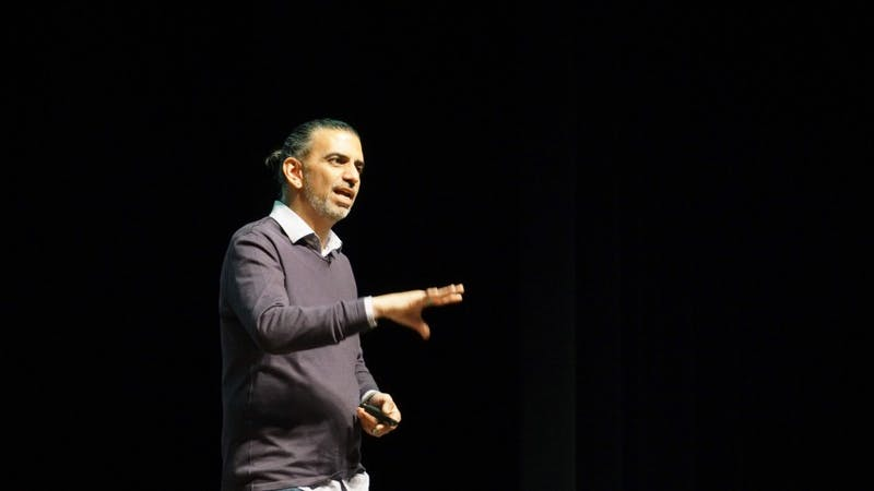 Jamie Casap, who has worked at Google for 13 years, speaks April 10, 2019, at Emens Auditorium. Casap spoke to Ball State students about technology and Generation Z. John Lynch, DN