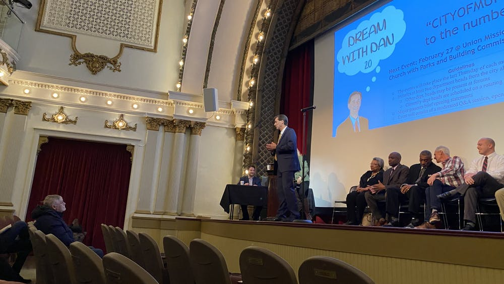 """Muncie Mayor Dan Ridenour speaks at his """"Dream With Dan 2.0"""" community forum Jan. 30, 2020, at Muncie Civic Theater. This was the first of many monthly forums the mayor intends on organizing. Hannah Gunnell, DN"""