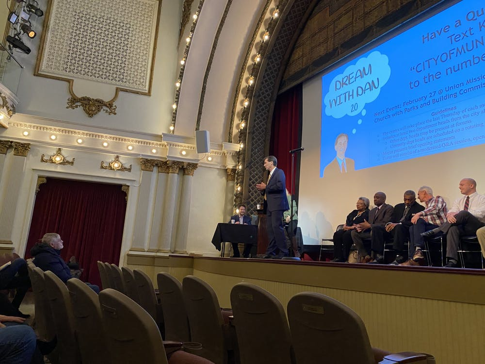 "Muncie Mayor Dan Ridenour speaks at his ""Dream With Dan 2.0"" community forum Jan. 30, 2020, at Muncie Civic Theater. This was the first of many monthly forums the mayor intends on organizing. Hannah Gunnell, DN"