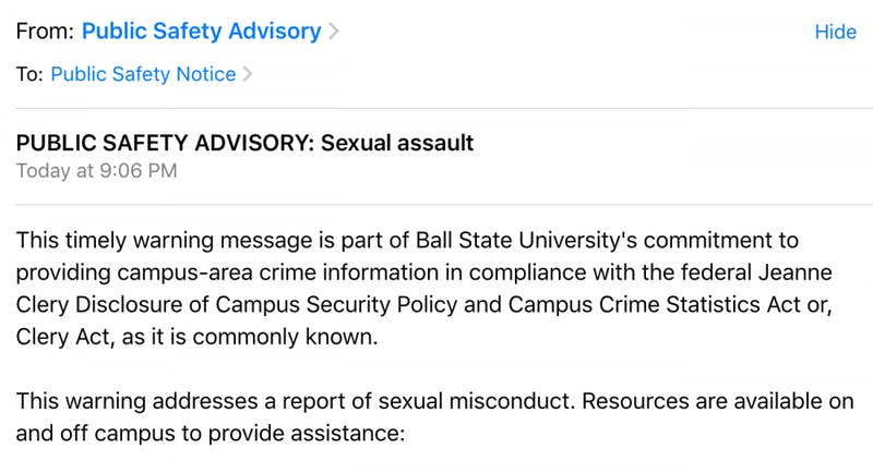 University police investigating report of sexual assault