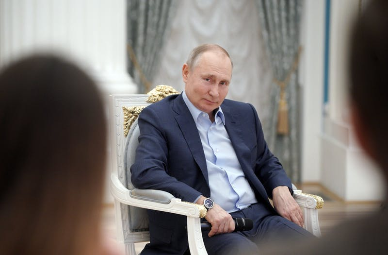 Russian President Vladimir Putin pictured at the Kremlin in Moscow on March 4, 2021. (Alexey Druzhinin/SPUTNIK/AFP/Getty Images/TNS)