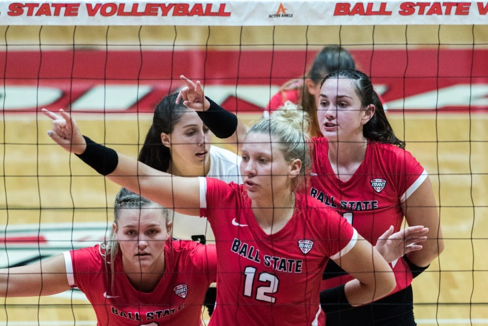 <p>Ball State's women's volleyball faced the North Dakota State Badgers Sept. 7, 2018, at Worthen Arena. The Cardinals won all three matches. Stephanie Amador, DN</p>